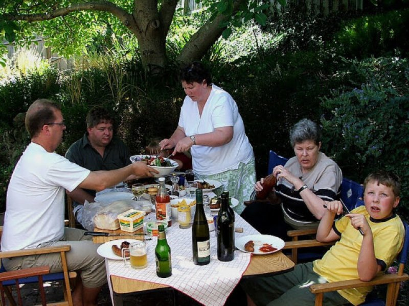 A family lunch under the walnut tree, early 2000s