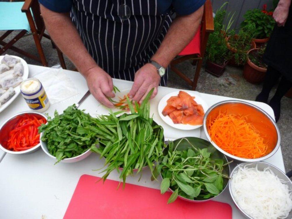 Paul rolling salmon and veg 'nem'