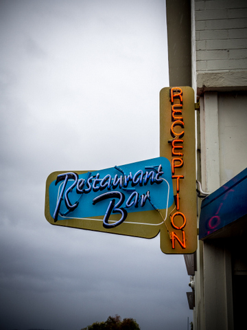 Period neon sign at the Riverside Motel in Hobart's northern suburbs
