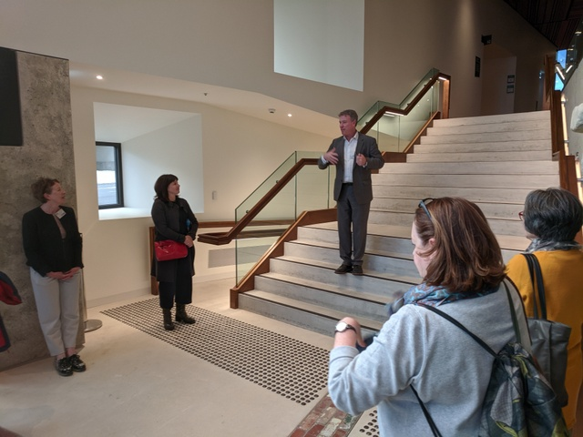 Theatre Royal general manager Tim Munro welcomes the group at the new entrance to the Theatre Royal. The old entrance is still there, but this one offers more space, access to new box office and bar facilities and lifts for those who need them.