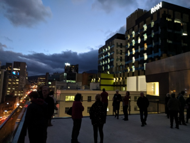 The new wing of the Royal Hobart Hospital looms over the Hedberg