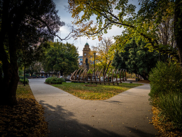 Late afternoon Autumn sunshine in Hobart's Franklin Square