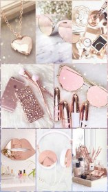 rose gold cute iphone wallpapers girly backgrounds collage resolution aesthetic phone makeup moda 3diphonewallpaper mei lockscreens board 3d pink parede