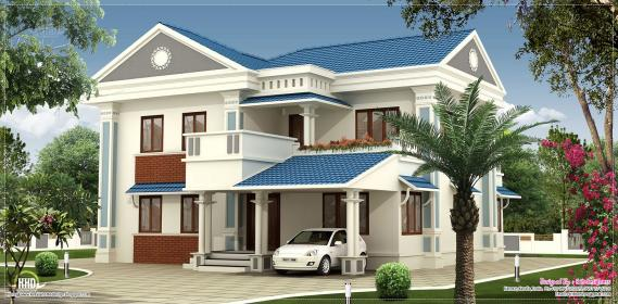 nice kerala 2000 villa square feet houses sq plans elevation ft floor designs modern balcony eco roof contemporary sloping plan