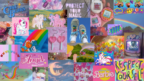 laptop kidcore aesthetic wallpapers 90s collage care pink 90 bears barbie posts