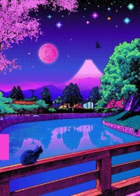 aesthetic pixel 80s japan vaporwave kawaii japanese purple anime backgrounds retro waves cat cats trippy wallpapers phone poster computer inspired