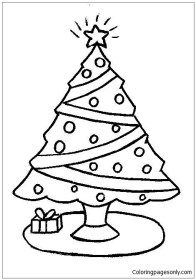 Simple Christmas Tree Coloring Page Free Coloring Pages
