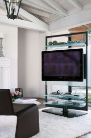 tv contemporary stand stands glass living space ubiqua apartments