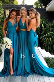 teal dresses bridesmaid neck deep cheap sleeveless mismatched gown bride