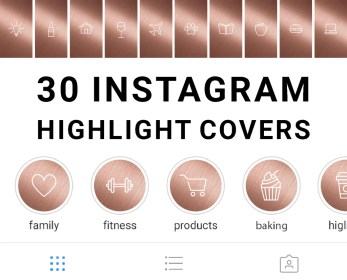 rose gold instagram highlight icons story digital title downloads