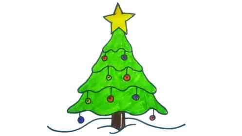 tree christmas draw drawing easy drawings trees simple diy xmas cute spruce pine decorations tutorial line holiday very decoration children