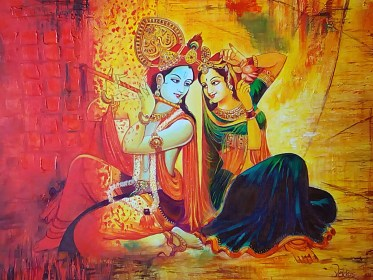 krishna radha painting flute paintings why lord india deep married never playing 32in 24in handpainted loading though even were they