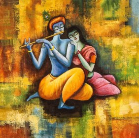 krishna radha painting paintings forever modern canvas indian god handpainted artist 26in save artists india 2626 x49po