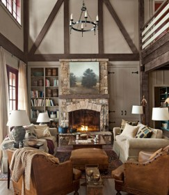 lake rustic decorating decor cabin living country mountain lakehouse cozy decorate rooms houses wall homes countryliving ways livingroom fire colors