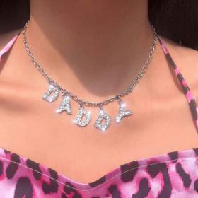 bling aesthetic 90s bitch necklace daddy unif chain angel letter choker night club money unisex accessory cool belt sweet