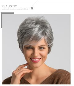 wigs short pixie gray side cut element wig blend inch synthetic left human parting pelo cortes senora mayor mezcla peluca