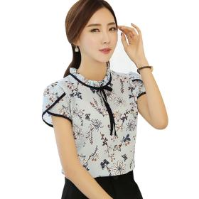 blusas stand summer chiffon collar blouse floral sleeve short femininas printed casual