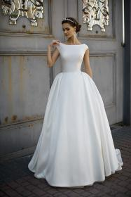 wedding dress dresses gown ball satin cap bridal sleeve sample country backless ivory western boat neck weddings boatneck