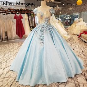 sky satin ball gowns lace cap sleeves beaded bridal puffy aliexpress
