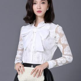 lace blouses elegant sleeve long bow shirts tie tops hollow spring