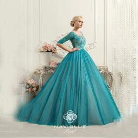 teal wedding dresses lace rose naviblue robe colorful court mariee train gowns bridal arrival beaded cheap tulle weddings