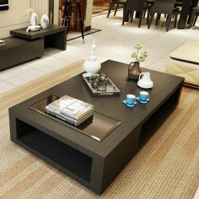 Cheap minimalist small apartment living room coffee table tea tempered glass TV cabinet combination storage versatility