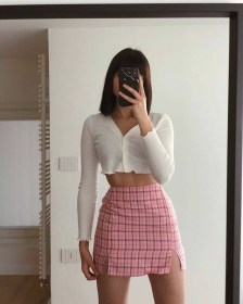 aesthetic soft outfits plaid skirt detailed guide cardigan