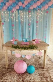 gender reveal table dessert pink decorations balloons themes most simple popular archziner favors shower tulle ballons lights way carpet brown