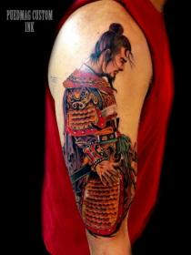samurai tattoo tattoos traditional half sleeve arm colorful shoulder designs ink custom colored sleeves awesome right samurais tatuagens japanese schulter