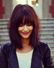 Trendy Long Bob with Bangs