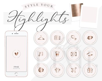 instagram highlight icons gold rose story blush pink highlights covers logos email fonts