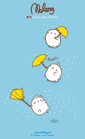 iphone kawaii molang cute background lluvia wallpapers mi rabbit anime backgrounds things cartoon