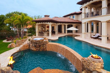 pool pools swimming waterfalls tall waterfall backyard steps jacuzzi tiered tier luxurious into columns mansion asymmetrical along real complex includes