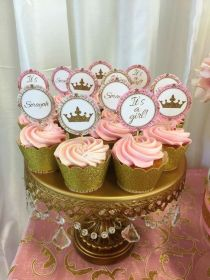 shower cupcakes pink decor catchmyparty royalty adorable cake decorations princess rose cakes cupcake showers youll ll themes babyshower digsdigs theme