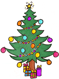 tree christmas presents cartoon under clipart drawing draw gifts present cliparts finished ornaments clipartmag