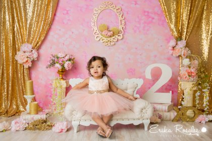 baby session pink gold birthday studio children portrait rosales erika