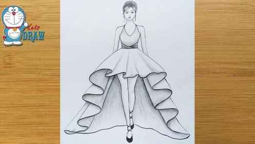 How To Draw A Girl With Beautiful Dress For Beginners