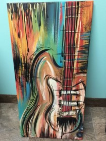 painting canvas beginners easy acrylic paintings drawing guitars guitar music abstract projects freejupiter creative painted draw paint simple beginner apple