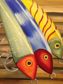 acrylic painting canvas beginners easy paintings simple fishing fish paint diy palette beginner lake freejupiter artwork acrylics step pinot source