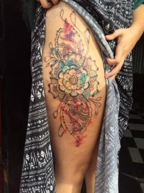 mandala tattoo thigh tattoos designs most body watercolor lotus colored right meaning ornamental things hope