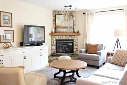 fireplace corner facing paint stone cream moore benjamin stand gentle warm exposure dining colour southern colours kylie shown interiors colors