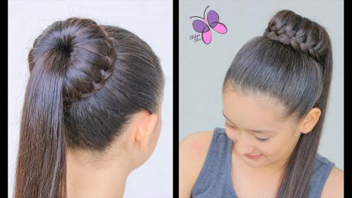 Hairstyle With Waterfall Braided Bun YouTube