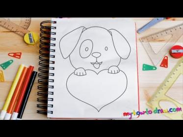 How to draw a Cute Puppy Love Heart Easy step by step