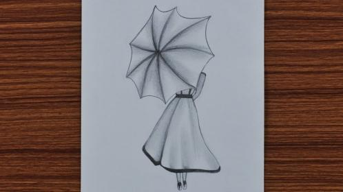 pencil easy sketches beginners drawing step umbrella