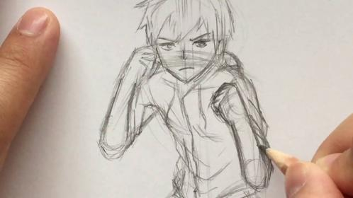 anime fighting poses drawing sketch battle boy draw kid person pose stance drawings sketches