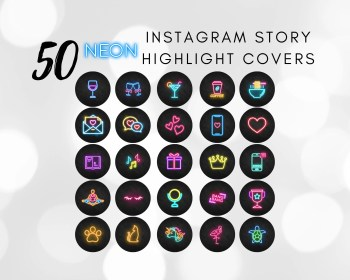 highlight ig neon icons covers