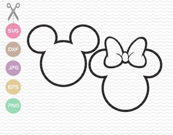 minnie outline mickey svg head mouse silhouette cut instant