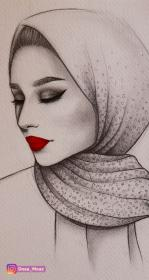drawing sketch instagram drawings pencil draw sketches profile portrait hijab wearing semi