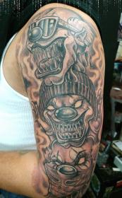 chicano tattoo tattoos sleeve designs chicanos half gangsters grey gangster mexican marijuana skull meaning clown money chicanas female horror cool