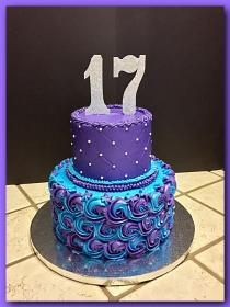 Purple and turquoise quilted/rosette cake The Great